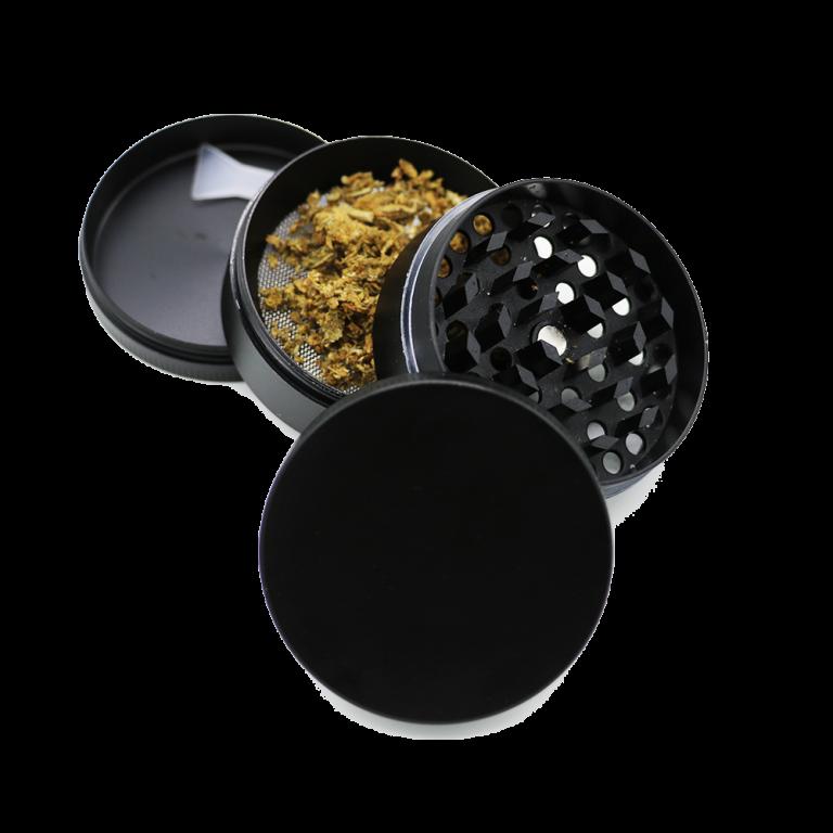 4 piece black metal grinder with scraper