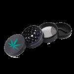 Custom 4 piece metal black grinder with a custom branded logo, ground cannabis and a scraper