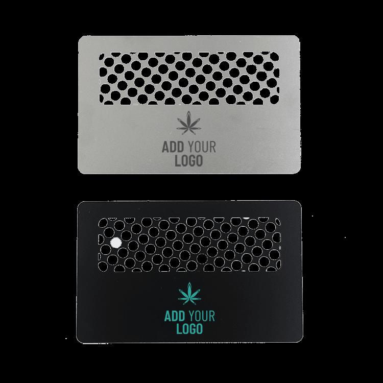 Custom Grinder Cards Steel and Black with logo